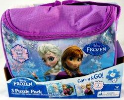 Disney Frozen Carry & Go 3 puzzle pack w/ purple bag Anna & Elsa