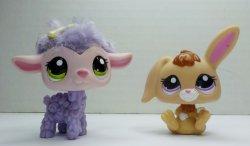 Littlest Pet Shop Cutest Pets Bunny 2620 & cuddly Lamb 2621 loose