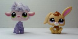 Littlest Pet Shop Cutest Pets Bunny 2620 & cuddly Lamb 2621 loose