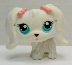 Littlest Pet Shop White Maltese Dog #65 pink bows loose