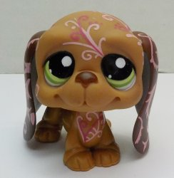 Littlest Pet Shop Basset Hound 1358 brown decorated loose retired