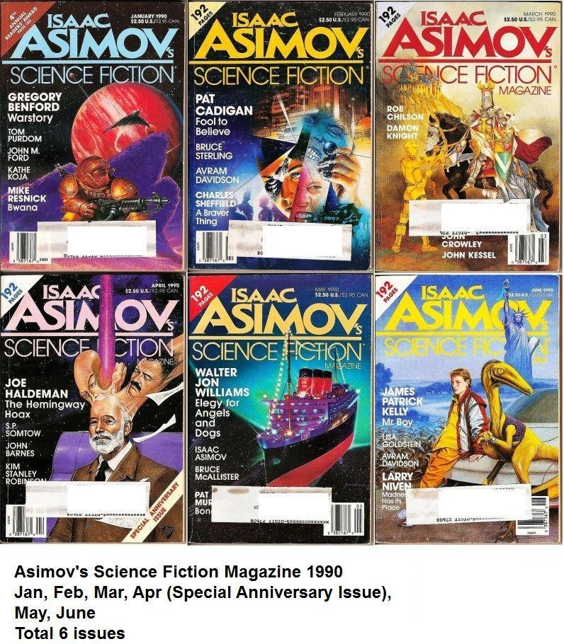 Isaac Asimov's Science Fiction Magazines Jan-Jun 1990 lot