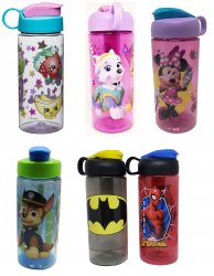 Zak Designs Licensed Character BPA free Water Bottles 16.5 oz w/carry loop