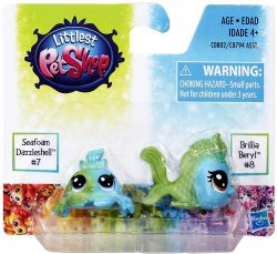 Littlest Pet Shop Special Edition minis Seafoam Dazzleshell & Brillia Beryl