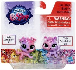 Littlest Pet Shop Special Edition minis Collie Dazzlepink & Viola Twinkledus
