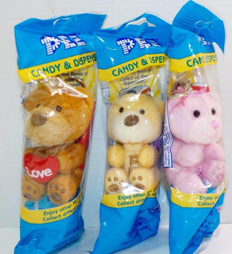 Pez Valentine's Plush Teddy Bears set of 3, blue cello bags