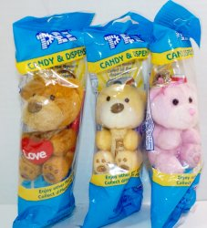 Pez Valentines Plush Teddy Bears set of 3 Pink, Yellow and Brown 2017