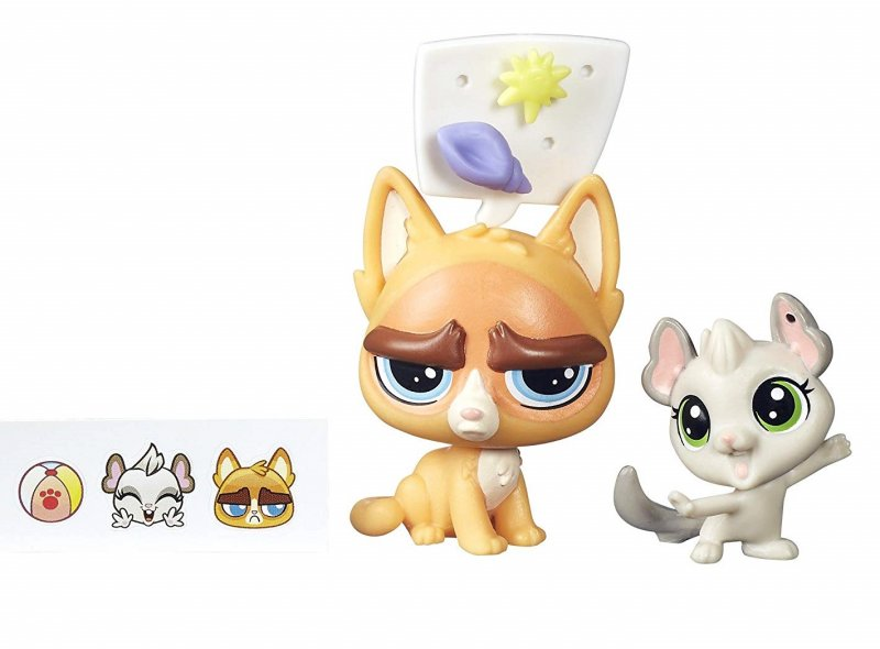 Littlest Pet Shop Sulky MacWhiskers PC135 & Chenille Chilla PC136