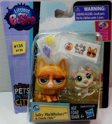Littlest Pet Shop Sulky MacWhiskers PC135  & Chenille Chilla PC136 2 pack