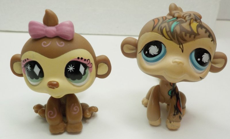 Littlest Pet Shop Chimp #359, Monkeys #485, #600, #946