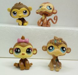 Littlest Pet Shop Chimp #359, Monkeys #485, #600, #946, loose pets