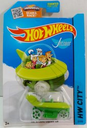 Hot Wheels The Jetsons Capsule Car HW City 2015 Tooned tall card