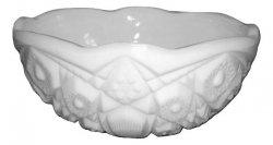 Milk glass Toltec patterned bowl Mckee Glass Company Vintage