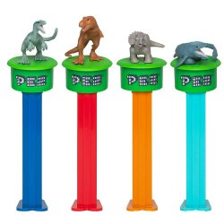 PEZ Jurassic World Click and Play Gift Tin gameboard with 4 dinosaur Pez