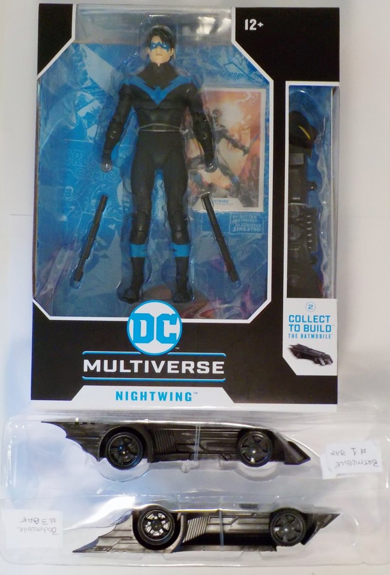 DC Multiverse McFarlane Toys with extra Batmobile pieces 1,3