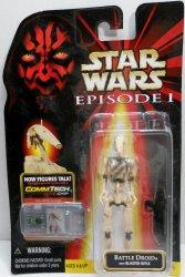 Star Wars Ep1 CommTech Battle Droid w/ Blaster 3.75 in figure damage dirt
