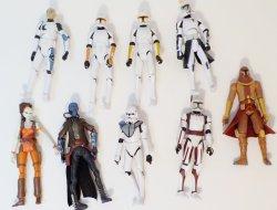 Star Wars CW Figures 3.75 in loose figures Clone troopers, Aurra Sing, Cad Bane