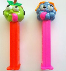 PEZ Sourz Green Apple and Blue Raspberry loose 2002 summer release retired