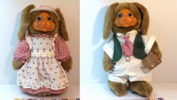 Robert Raikes Originals Mr and Mrs Nickleby rabbits 1989 Easter Release