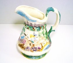 Ceramic Pitcher Colonial Scene painted signed A.G. 1963 vintage