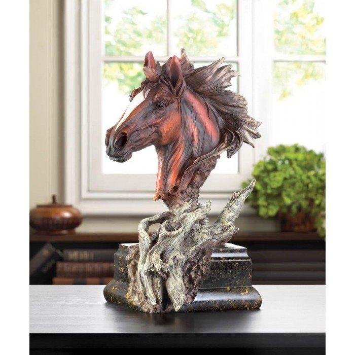 driftwood stallion sculpture brown horse statue gift home decor. Black Bedroom Furniture Sets. Home Design Ideas