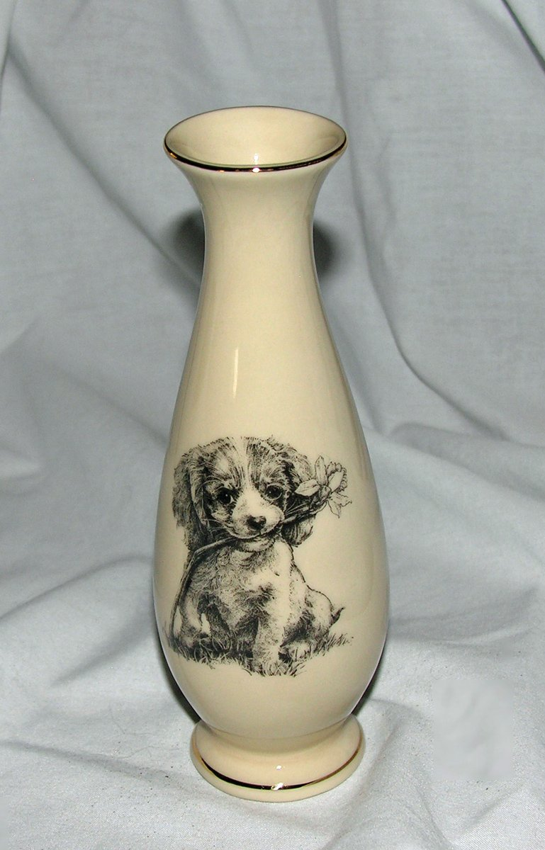 Image 0 of Porcelain Bud Vase Puppy with Flower Gold Trimmed