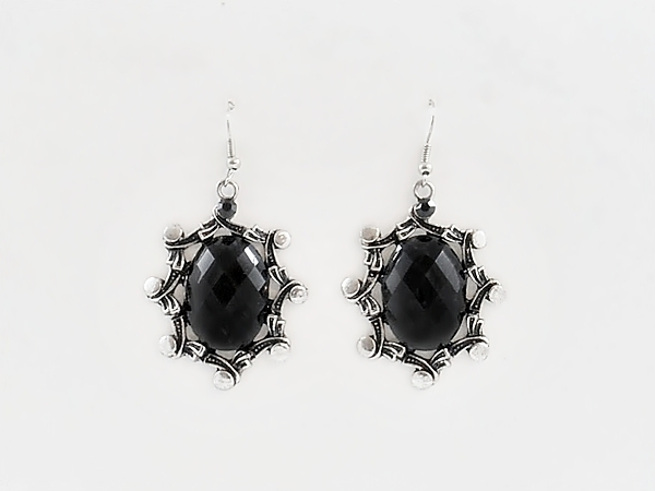 Black And Antiqued Silver Oval Dangle Earrings