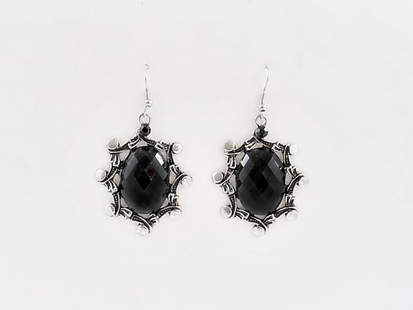 '.Black Oval Dangle Earrings.'