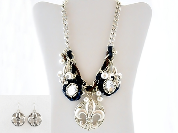 Denim Blue and Pearl Silver Fleur De Lis Bib Necklace and Earring Set