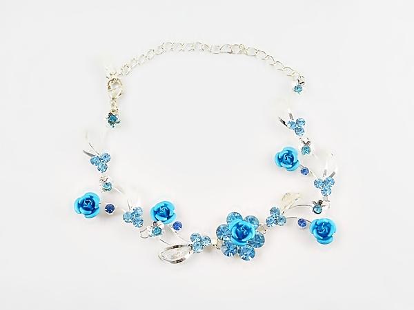 '.Blue and Silver Rose Bracelet.'