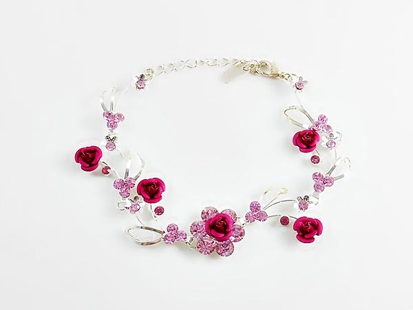 Fuchsia Pink Rose and Rhinestone Silver Mesh Bracelet