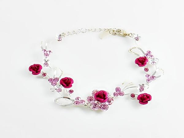 '.Pink Rose Rhinestone Bracelet.'