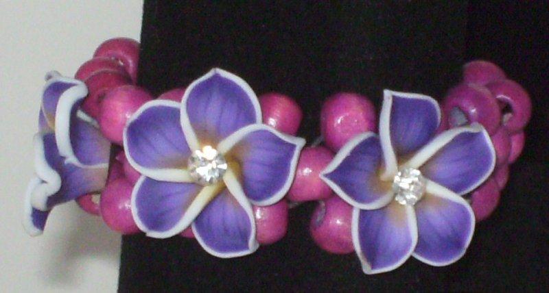 Image 2 of Purple 3 Flower Stretch Bracelet