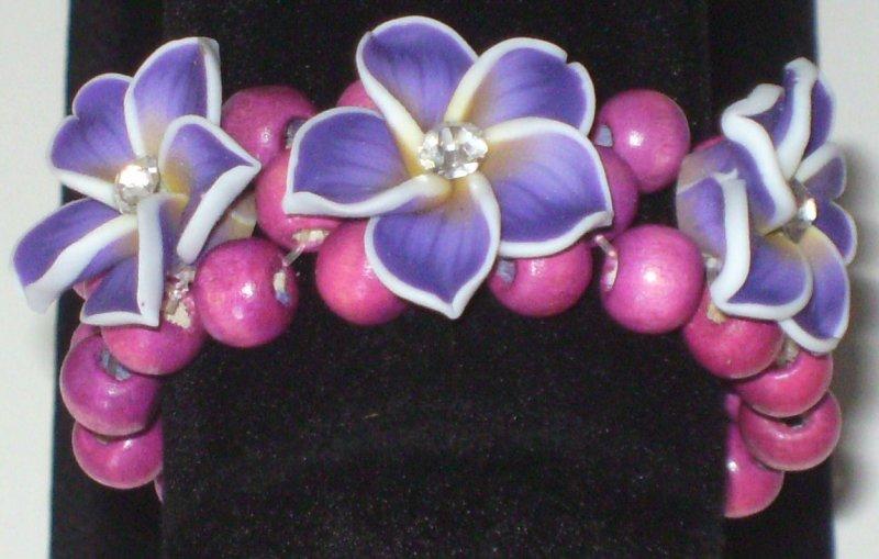 Image 3 of Purple 3 Flower Stretch Bracelet