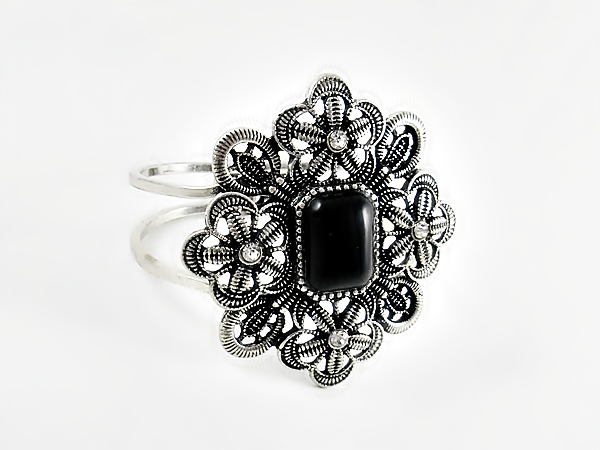 Black and Silver Flower Hinged Cuff Bracelet