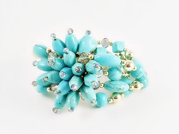 Turquoise Flower Cluster Beaded Four Strand Strech Bracelet from iblingu.com