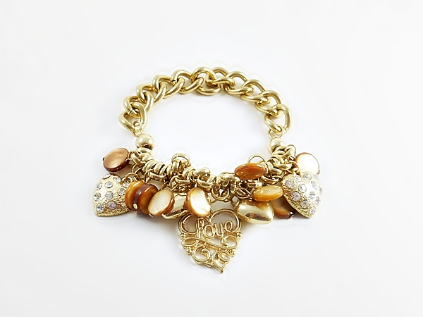 Gold Love and Heart Charm Chain Bracelet