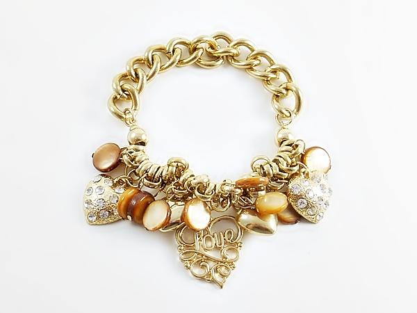 '.Gold Heart Charm Bracelet.'