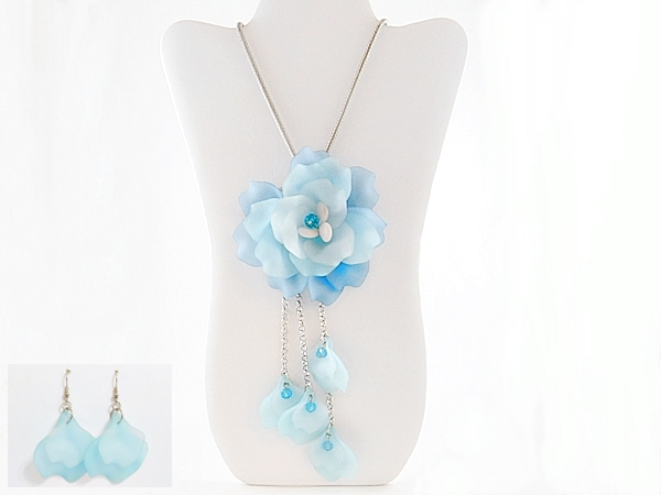 Blue Flower Statement Necklace Long Silver Chain Matching Earrings