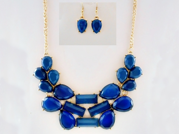 Blue and Gold Abstract Bib Necklace and Matching Earrings