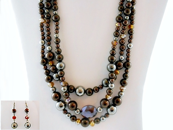 '.Brown Topaz Bead Necklace Set.'