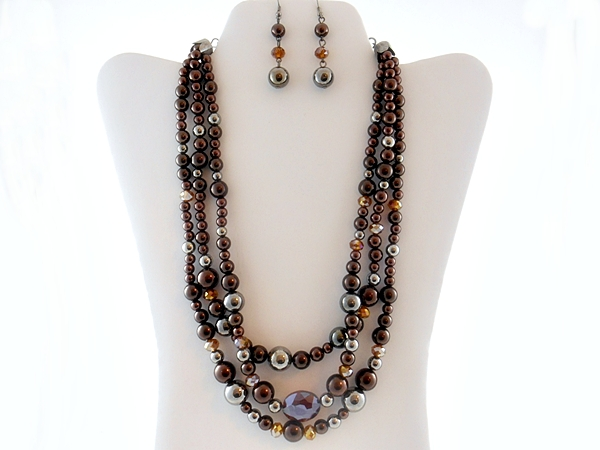 Brown and Topaz Triple Strand Beaded Necklace and Matching Earring