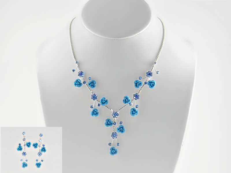 Blue and Silver Rose Flower Silver Chain Necklace and Earrings