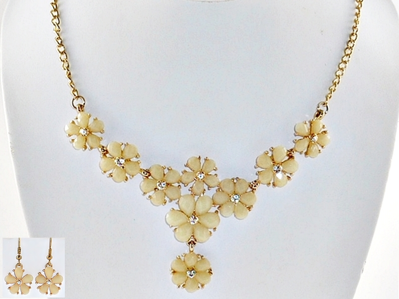 Beige Flower Gold Bib Necklace and Earrings Rhinestone Accents