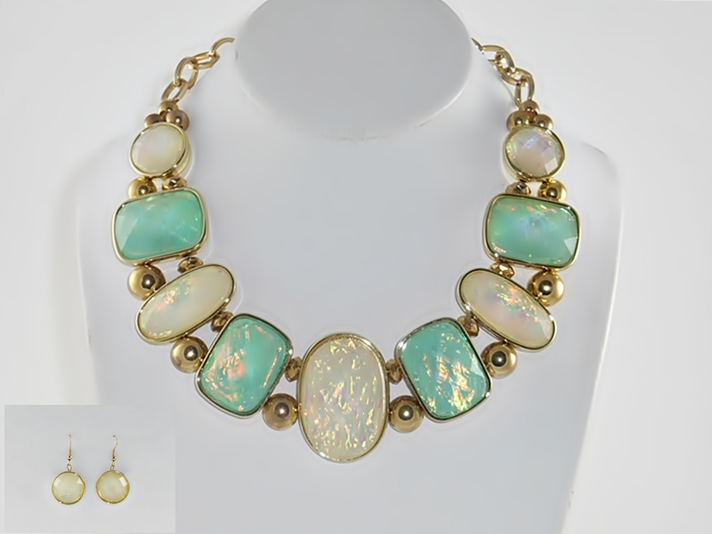 Green and White Iridescent Stone and Gold Bead Necklace and Earrings