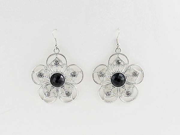 Black and Silver Filigree Flower Earrings