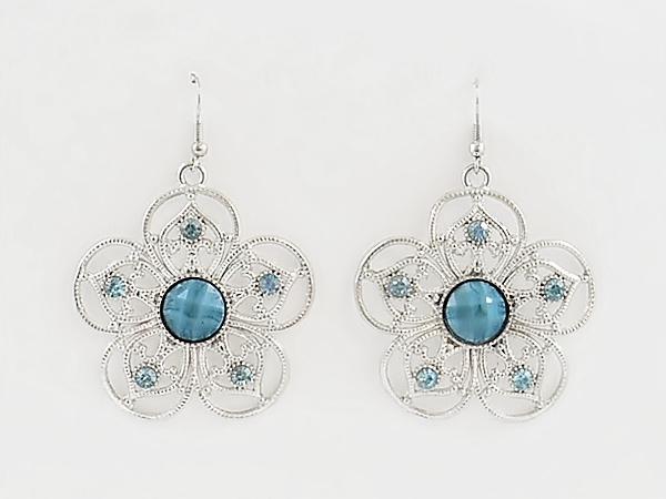 Blue Flower Silver Filigree Dangle Earrings