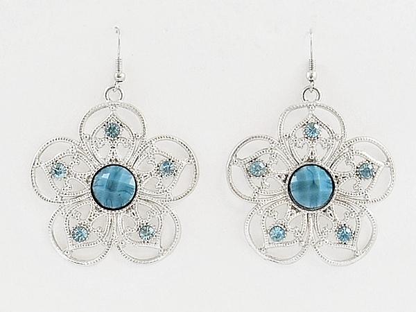 '.Blue Flower Dangle Earrings.'
