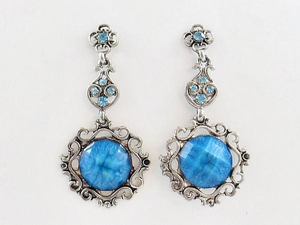 Blue Round Silver Filigree Dangle Earrings