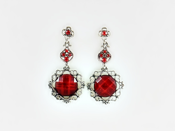 Red and Silver Round Filigree Post Earrings with Red Rhinestone Accents from iblingu.com